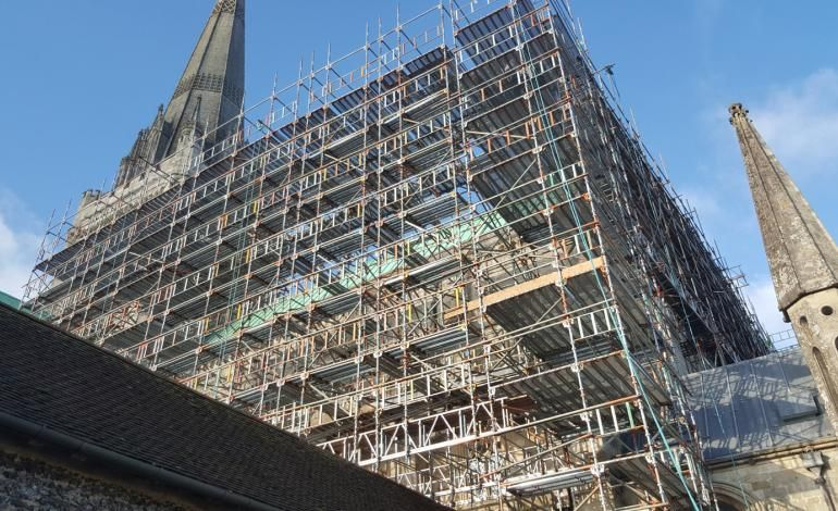 Cathedral under scaffolding