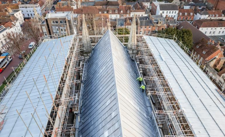 Chichester Cathedral High Roofs Phase One aerial view
