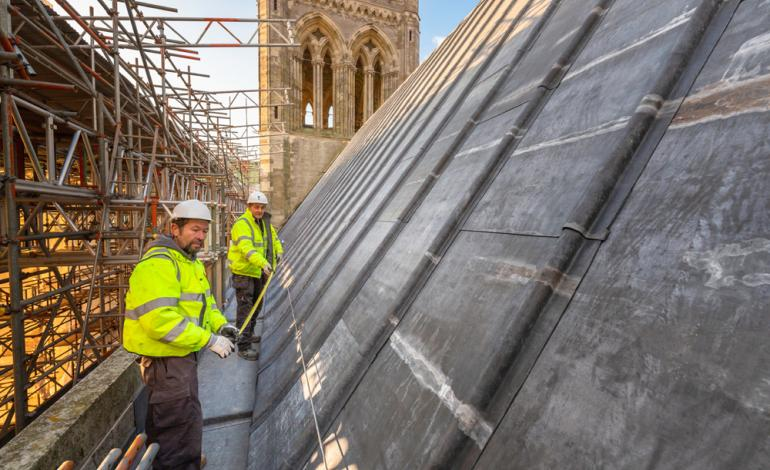 Chichester Cathedral High Roofs Phase One workmen measuring